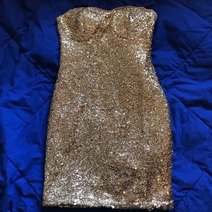 Strapless Gold Sequin Dress